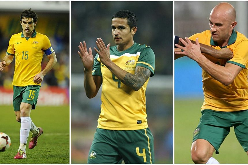 Mile Jedinak (left), Tim Cahill and Mark Bresciano will lead Australia's bid for Asian Cup glory after coach Ange Postecoglou unveiled a 23-man squad on Tuesday, Dec 23, 2014 -- PHOTO: ACTION IMAGES/AFP