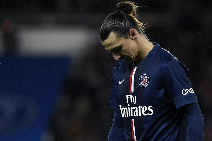 Paris Saint-Germain's Swedish forward Zlatan Ibrahimovic leaves the pitch after the French L1 football match Paris Saint-Germain vs Montpellier on Dec 20, 2014 at the Parc des Princes stadium in Paris.Ibrahimovic did not take kindly to being vo