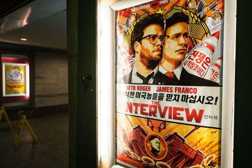 General view of The Interview poster during Sony Pictures' release of The Interview at the Plaza Theatre on, Christmas Day, Dec 25, 2014 in Atlanta, Georgia. Hundreds of thousands of people viewed illegal copies of The Interview in China and South Ko