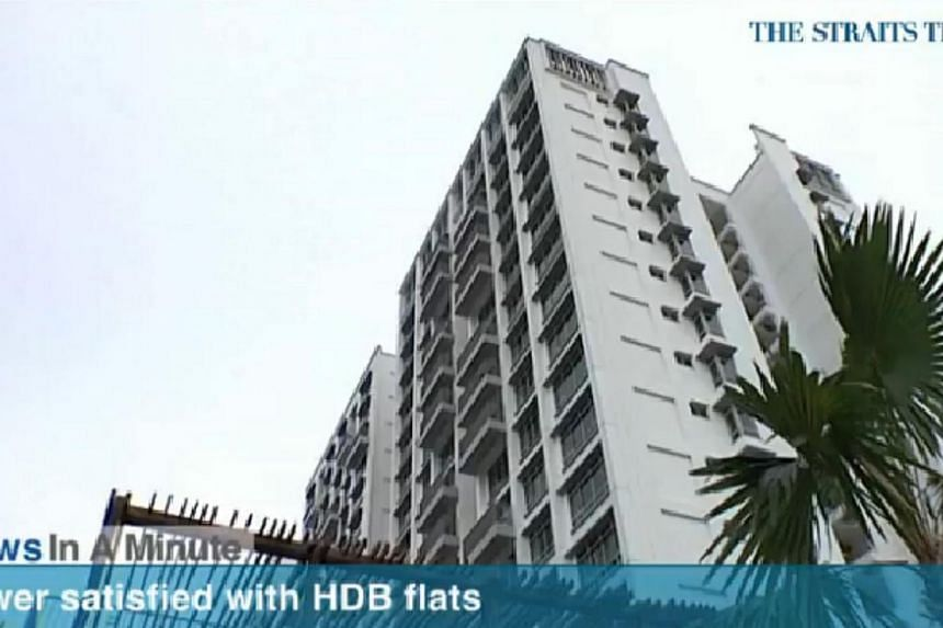In today's News In A Minute, we look how the HDB survey found that over 91 per cent were satisfied with their flat last year, down from 96.4 per cent in 2008.-- PHOTO: SCREENGRAB FROM RAZORTV