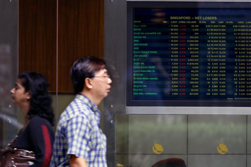 The STI fell to 1,755.50 during trading. Stocks here managed to eke out gains on a quiet session after the Christmas holiday, with most of the gains coming in the final minutes of trading. -- PHOTO: ST FILE