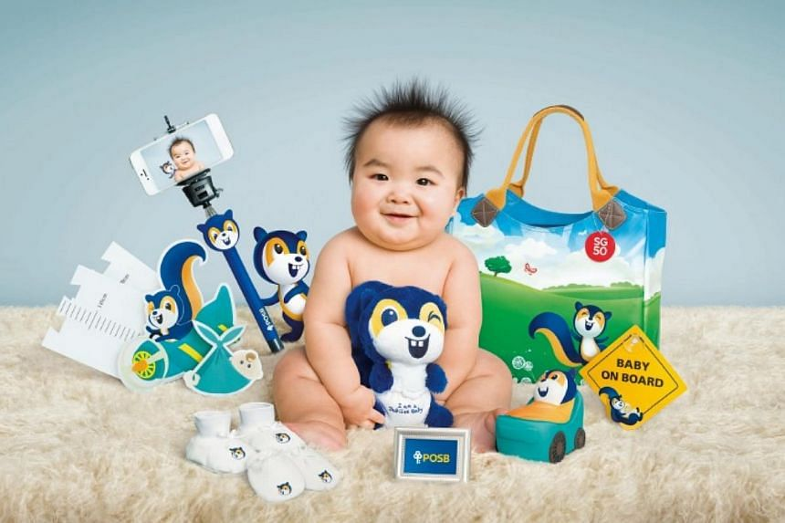 "POSB's gift pack comprises a diaper bag, a pair of mittens and booties, a plush toy, a coin bank, a height chart, a bluetooth selfie stick, a 2R picture holder, a ""baby on board"" car sign and a pack of Zappy baby wipes. -- PHOTO: POSB"