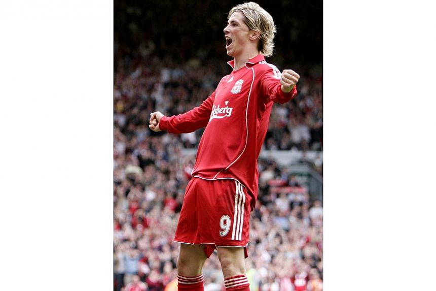 Fernando Torrescelebrates scoring the third goal for Liverpool in theFA Barclays Premier League fixture againstDerby County on Sept 1, 2007. -- PHOTO: ACTION IMAGES