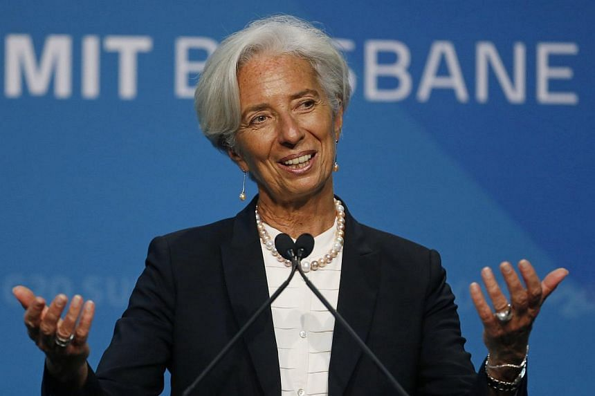 IMF managing director Christine Lagarde speaking at a news conference at the end of the G20 Leaders Summit in Brisbane on Nov 16, 2014. -- PHOTO: REUTERS