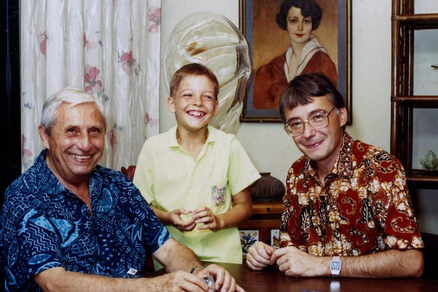 (Above) A map signed by Polish architect and town planner Krystyn Olszewski in 1969, which was a precursor of what would become the 1971 Concept Plan. (Below) Mr Olszewski (far left), seen here in a picture taken in 1990 with grandson Mirea and son P