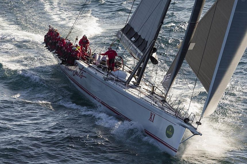 Australian yacht Wild Oats XI competing in the Sydney to Hobart yacht race on Dec 28, 2014. Wild Oats XI won its eighth line honours in the Sydney to Hobart race to become the most successful yacht in the history of the competition. -- PHOTO: AFP