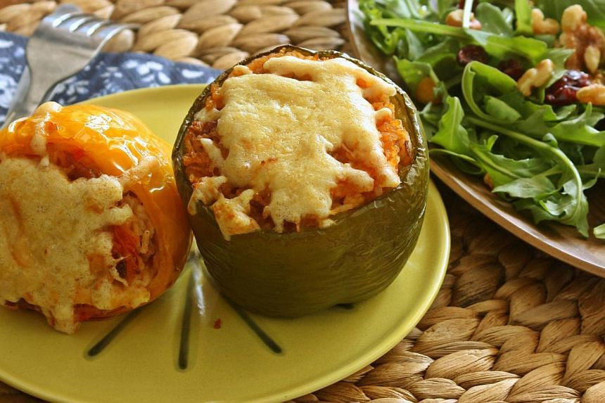 Pepper stuffed with fried rice is one dish which can be cooked at home. -- PHOTO: THE HUNGRY CHEF