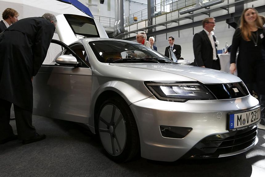 An electric car displayed at an event near Munich on Oct 20, 2014. Germany plans to expand the network of charging stations for electric cars across the country to help boost lacklustre demand, a Transport Ministry paper seen by Reuters showed.