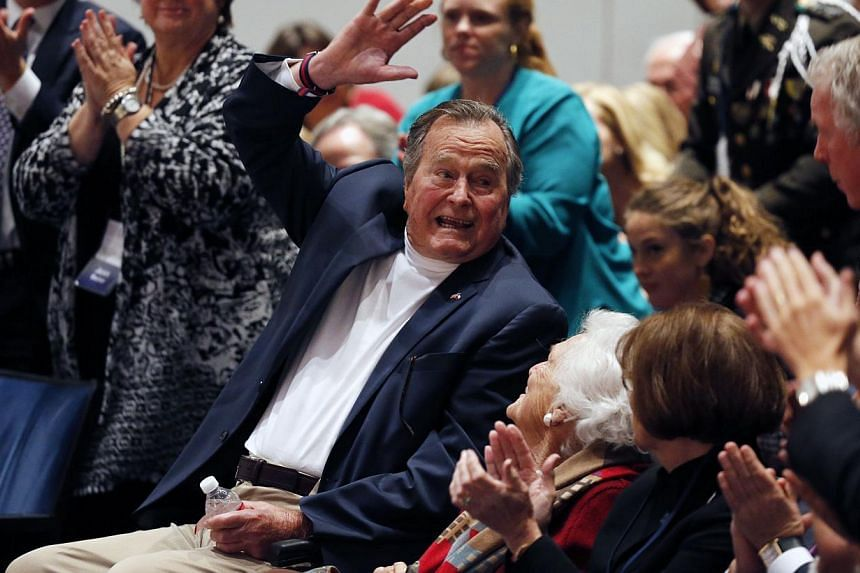 The oldest of the four living former US presidents, Bush, who uses a wheelchair, seemed frail in recent public appearances. -- PHOTO: REUTERS