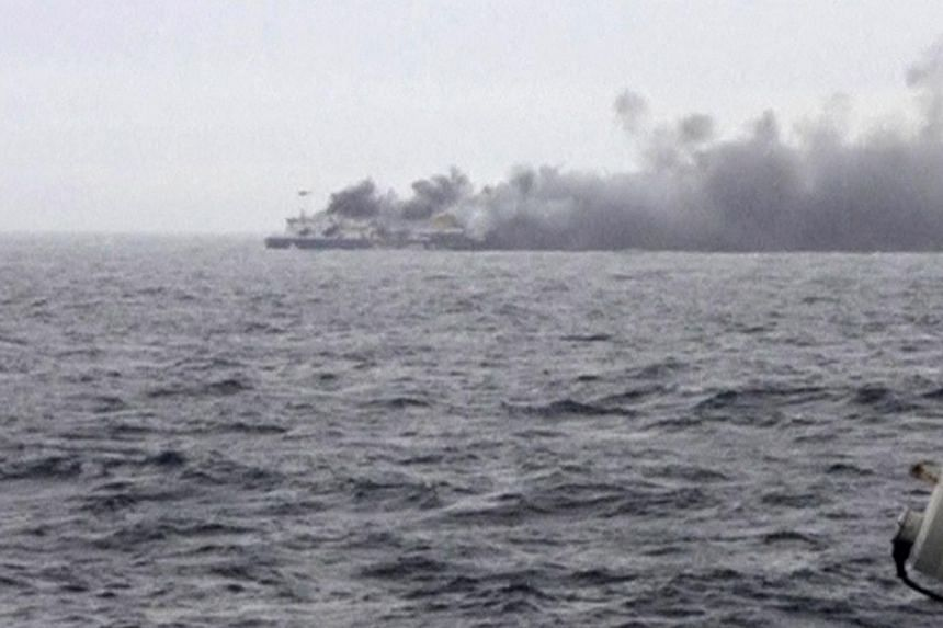 The car ferry Norman Atlantic burns in waters off Greece in this still image from video on Dec 28, 2014. -- PHOTO: REUTES