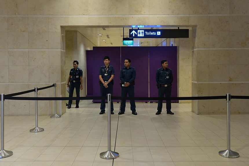 The holding area for relatives and next-of-kin at Changi Airport's Terminal 2. -- ST PHOTO: NG SOR LUAN