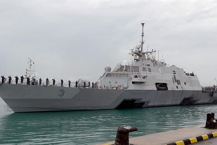 The littoral combat ship USS Fort Worth (LCS 3) arrives in Singapore. -- PHOTO: UNITED STATES NAVY