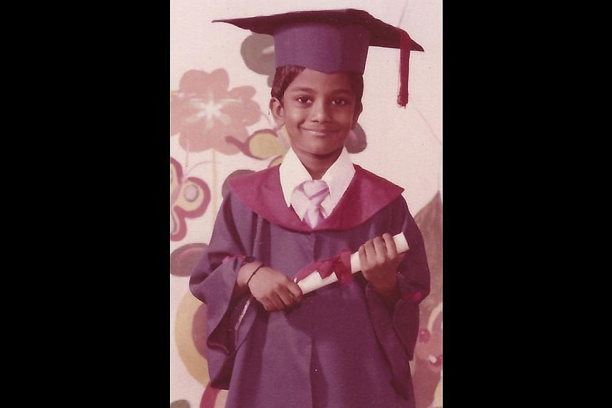Jack Ho at age four and Rai (above) at age six on his kindergarten graduation day. -- PHOTO: RAI KANNU