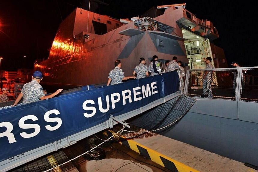 RSN servicemen embarking the Formidable-class frigate RSS Supreme. -- PHOTO: MINDEF