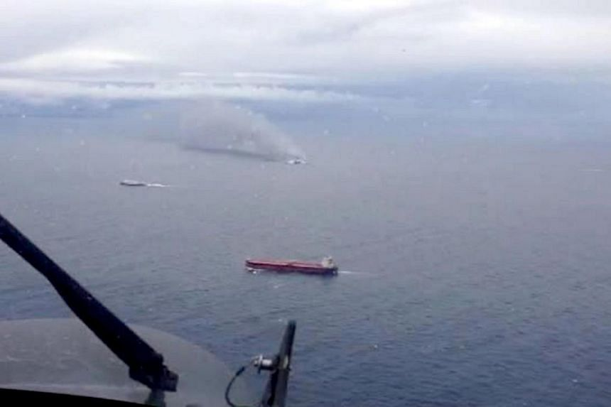 A photo grab taken from a video made available by the Aeronautica Militare Italiana on December 28, 2014, shows the burning ferry Norman Atlantic adrift off Albania. -- PHOTO: PHOTO / HO/ AERONAUTICA MILITARE ITALIANA