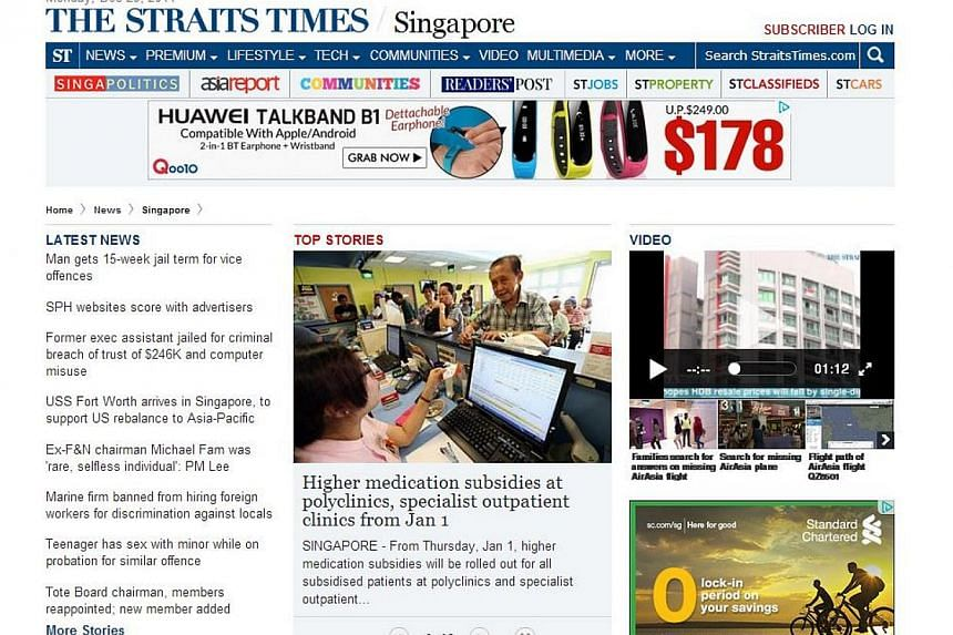 The Straits Times' website. -- SCREENGRAB FROM STRAITSTIMES.COM