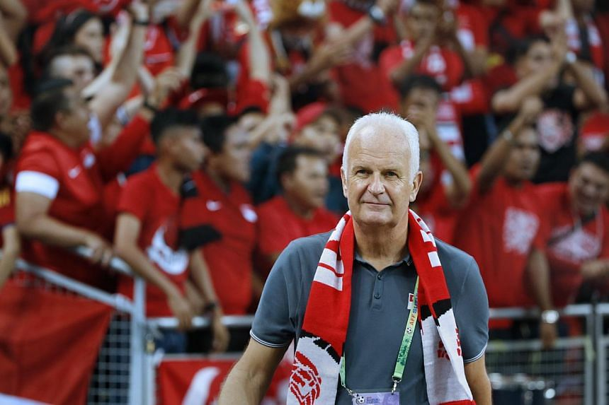 Lions coach Bernd Stange during the AFF Suzuki Cup match between Singapore and Malaysia at the National Stadium on Nov 29, 2014. -- PHOTO: ST FILE