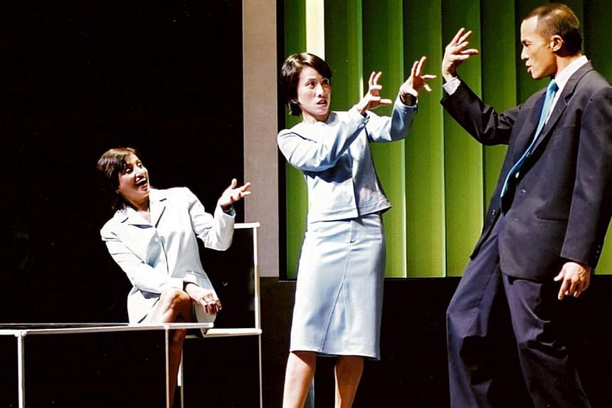 The Invitation To Treat trilogy in 2003 starred (above, from left) Anne James, Tan Kheng Hua and Lim Yu Beng. Mergers And Accusations was first staged in 1993, with cast members (above from left) Tan Kheng Hua, Gerald Chew and Rani Moorthy.