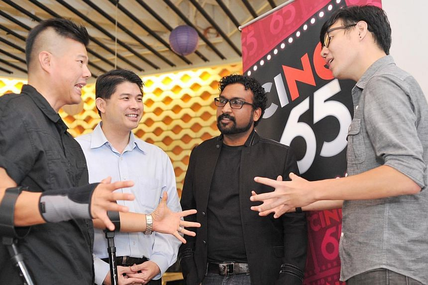 Commissioned film-makers of ciNE65's third seasonBertrand Lee (extreme left), N. Mohamed Yahssir (second from right) and Kenny Tan (extreme right), sharing their experiences in making their respective short films with thedirector of Nexus