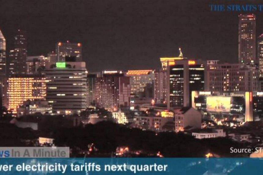 Electricity tariffs for the first quarter of 2015 will be reduced by an average of 8 per cent, or 1.99 cents per kilowatt hour, because of lower fuel costs. -- SCREENGRAB FROM RAZORTV