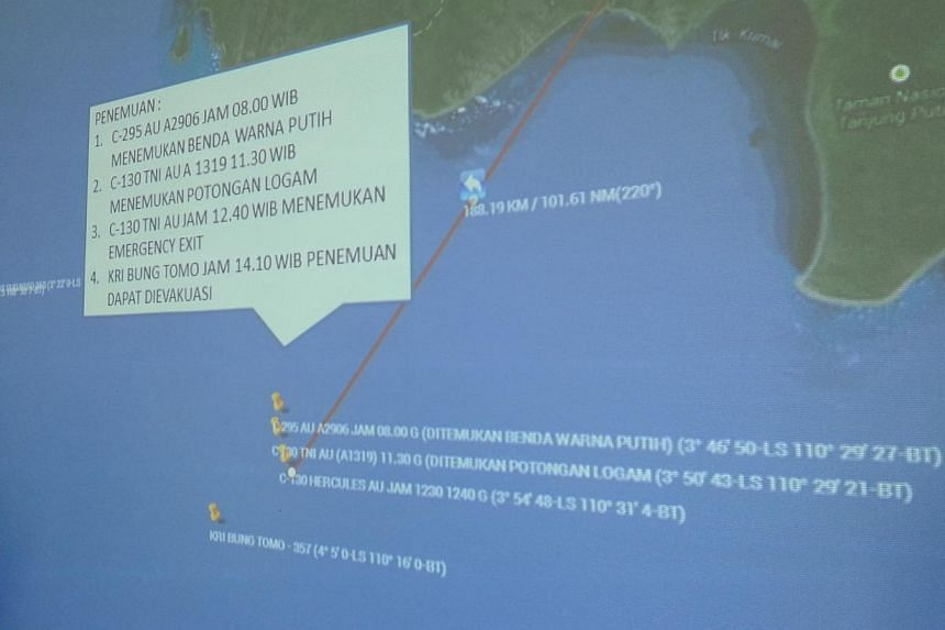 A map of the area believed to be where the plane went down. -- ST PHOTO: TEO CHENG WEE