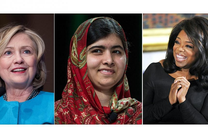 Former secretary of state Hillary Clinton (left) remains the woman most admired by Americans, followed by television icon Oprah Winfrey (right) and Pakistani activist Malala Yousafzai (centre), polling agency Gallup said Monday. -- PHOTO: AFP