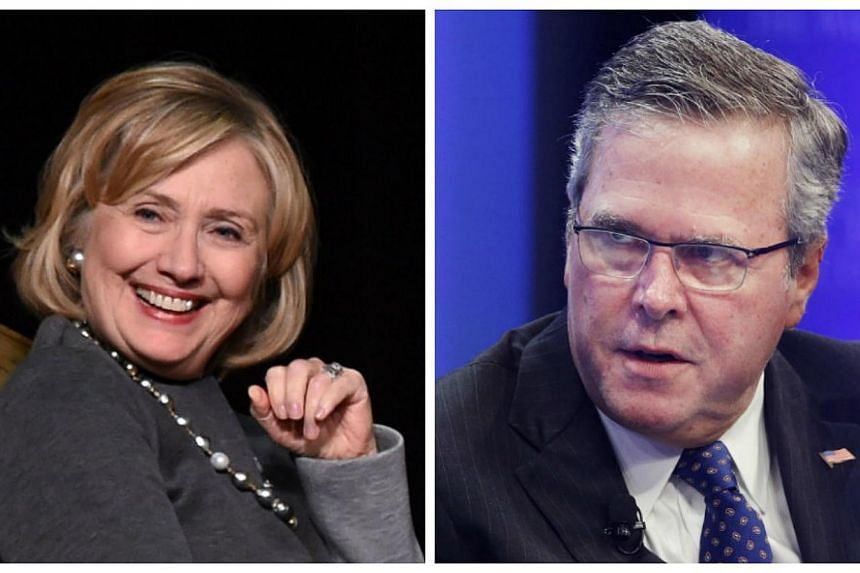Presumed Democratic frontrunner Hillary Clinton (left) would comfortably defeat Jeb Bush (right) for president if the two members of their famous US political clans went head to head in 2016, poll results showed Monday. -- PHOTOS: AFP, REUTERS