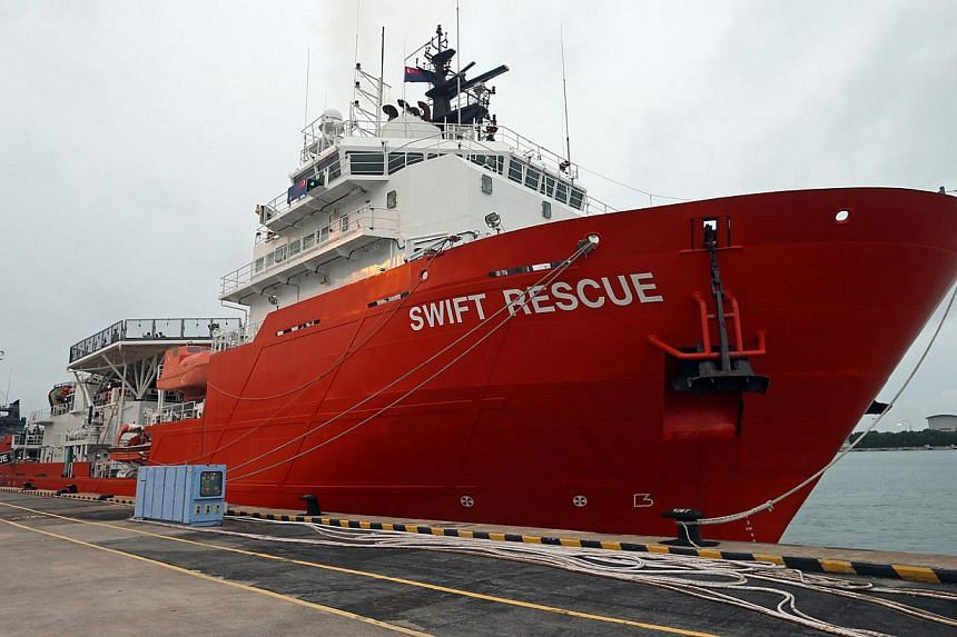 The MV Swift Rescue - a search- and-support ship deployed by Singapore to look for Indonesia AirAsia Flight QZ8501's flight recorder - is expected to reach the crash site at 2pm on Thursday, Jan 1, 2015, after almost two days of sailing. -- ST PHOTO: