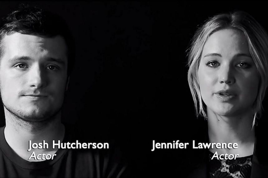 A screenshot from the video featuring Hunger Games stars Jennifer Lawrence and Josh Hutcherson. -- PHOTO: YOUTUBE