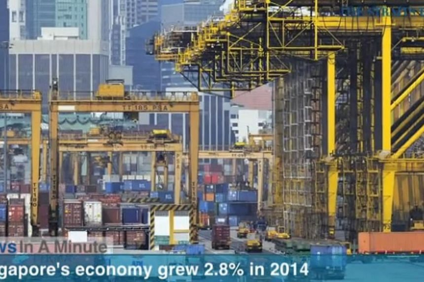 In today's The Straits Times News In A Minute video, we look at Singapore's economy growing a moderate 2.8 per cent in 2014, as productivity gains remained weak. -- PHOTO: SCREENGRAB FROM RAZORTV