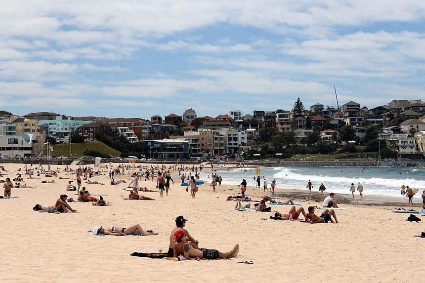 A sunny day at Bondi Beach in Sydney on Oct 28, 2014. -- PHOTO: AFP