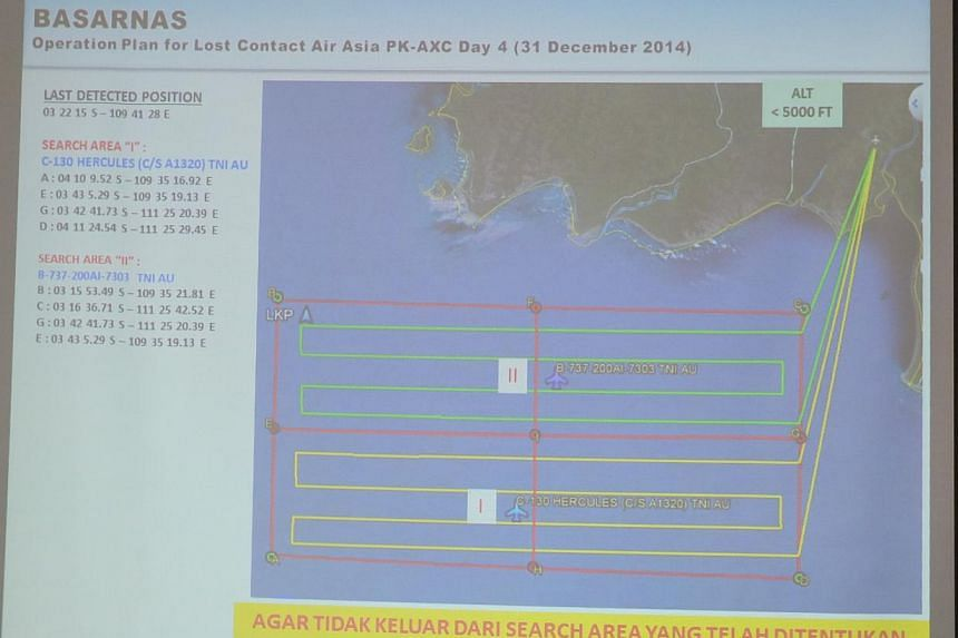 The air search map for the missing plane. -- ST PHOTO: WAHYUDI SOERIAATMADJA