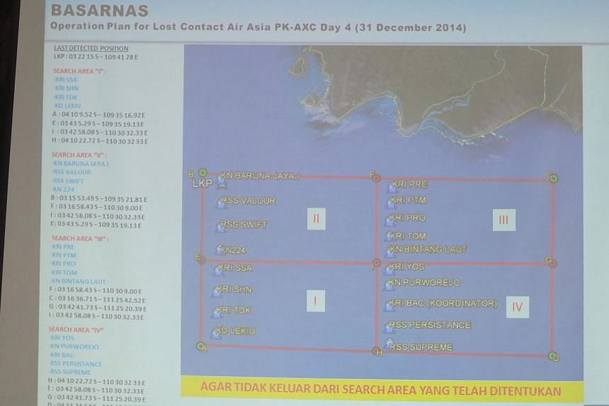 The water search map for the missing plane. -- ST PHOTO: WAHYUDI SOERIAATMADJA