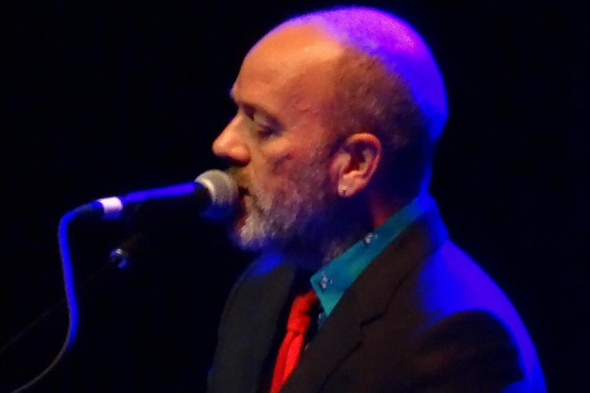 R.E.M. frontman Michael Stipe performs at Webster Hall in New York. The pioneering alternative rock singer took to the stage as a surprise opening act for punk icon Patti Smith. -- PHOTO: AFP