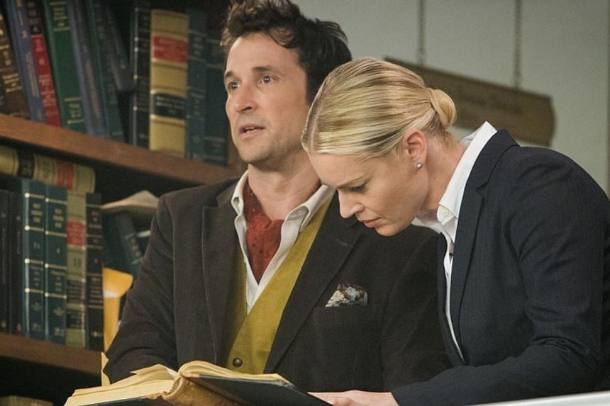 The Librarians stars Noah Wyle and Rebecca Romijn (both above). -- PHOTO: UNIVERSAL CHANNEL