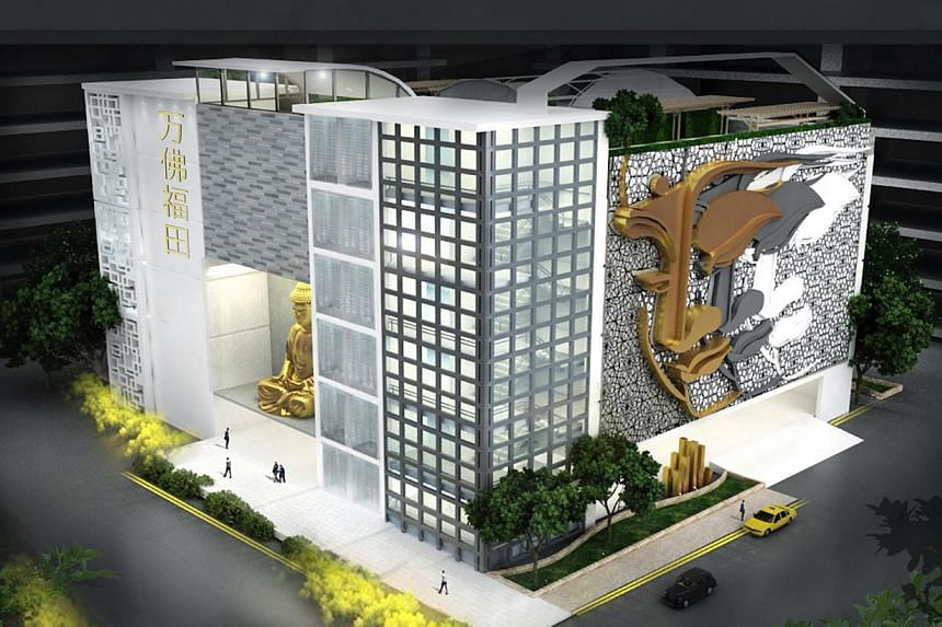 """Mr Simon Hoo, chief executive of Life Corp, said the Fernvale Link development """"will be 80 per cent temple and 20 per cent columbarium"""", and that the columbarium """"will be inside the temple building""""."""
