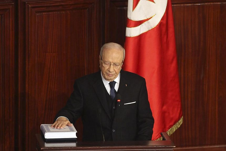 Tunisia's President Beji Caid Essebsi takes the oath of office at the constituent assembly in Tunis Dec 31, 2014. -- PHOTO: REUTERS