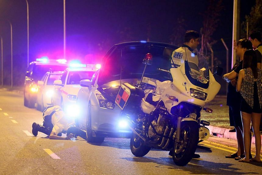 The male driver, believed to be in his 20s, was arrested on suspicion of dangerous driving early yesterday, in a joint operation by the Traffic Police and the LTA over New Year's Eve and New Year's Day.