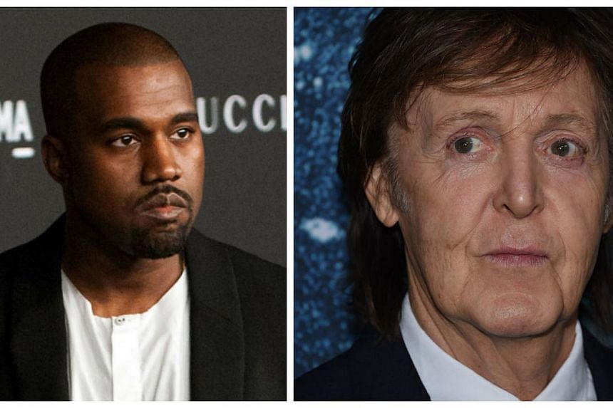 Musical powerhouses Kanye West (left) and Paul McCartney have teamed up in a surprise collaboration to produce a new single released Thursday, Only One. -- PHOTOS: AFP