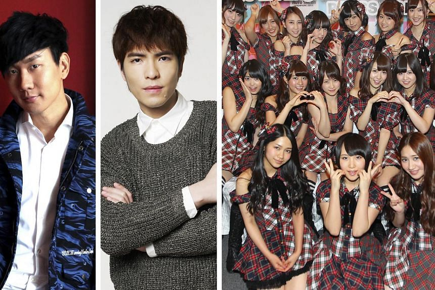 Asian stars (from left to right) JJ Lin, Jam Hsiao and members of AKB48 have all been victims of attacks