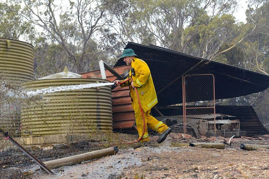 A Country Fire Service volunteer putting out spot fires next to a burnt out shed near One Tree Hill in the Adelaide Hills, north-east of Adelaide on Jan 3, 2015. -- PHOTO: AFP