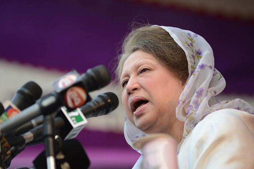 In this file photograph taken on Jan 20, 2014, Bangladesh's main opposition leader and Bangladesh Nationalist Party (BNP) chairperson Khaleda Zia addresses a rally in Dhaka.-- PHOTO: AFP
