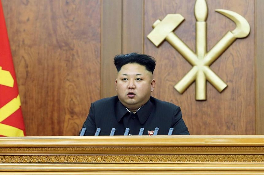 North Korean leader Kim Jong Un delivers a New Year's address in this Jan 1, 2015 photo released by North Korea's Korean Central News Agency (KCNA) in Pyongyang. -- PHOTO: REUTERS