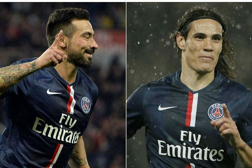 Paris Saint-Germain's attacking duo Ezequiel Lavezzi (left) and Edinson Cavani, who missed the Ligue 1 side's recent training camp in Morocco, have received financial and sporting sanctions from the club, coach Laurent Blanc said on Sunday, Jan 4, 20