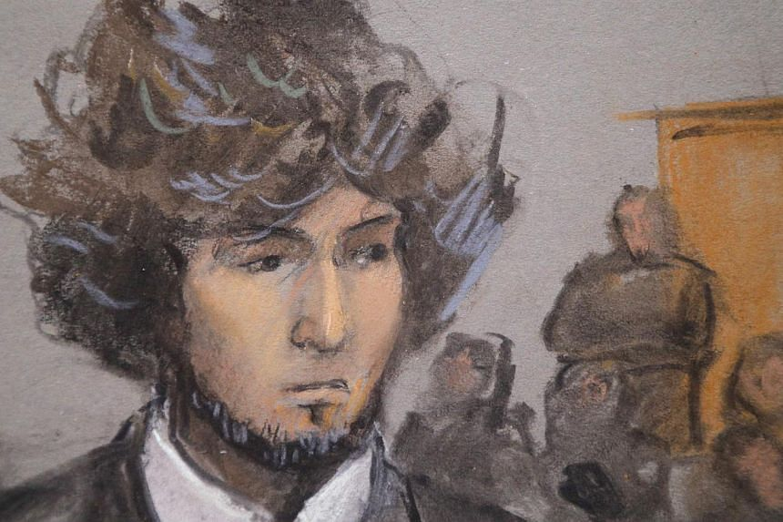 Boston Marathon bombing suspect Dzhokhar Tsarnaev is shown in a courtroom sketch during a pre-trial hearing at the federal courthouse in Boston, Massachusetts Dec 18, 2014.A US appeals court on Saturday denied a last-ditch request by lawy