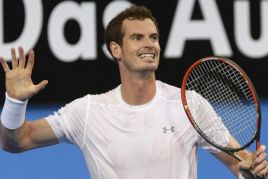 Andy Murray of Britain reacts after losing a point during his men's singles tennis match against Benoit Paire of France at the 2015 Hopman Cup in Perth on Jan 5, 2015. -- PHOTO: REUTERS