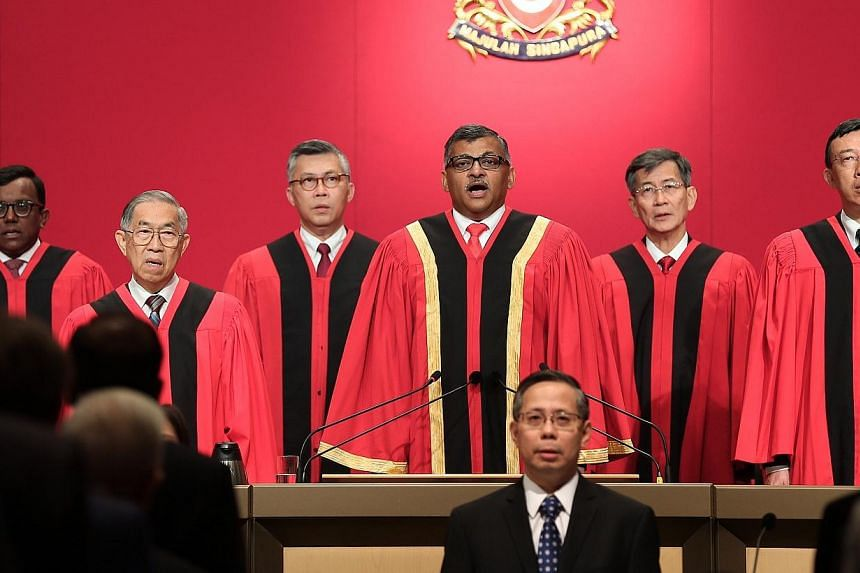 Chief Justice Sundaresh Menon speaking to mark the opening of the legal year. -- ST PHOTO: NEO XIAOBIN