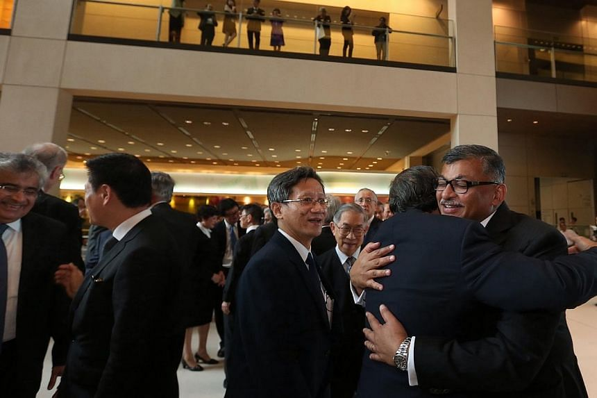 Chief Justice Sundaresh Menon (right) at the opening of the new legal year.-- ST PHOTO: NEO XIAOBIN