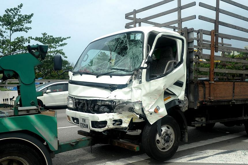 The lorry that was involved in the accident. -- ST PHOTO: TIFFANY GOH