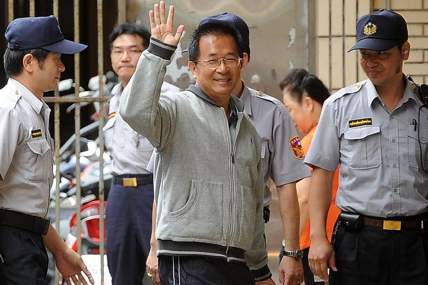 Former Taiwan president Chen Shui-bian arriving at the Taiwan High Court in Taipei in August 2011. -- PHOTO: AFP
